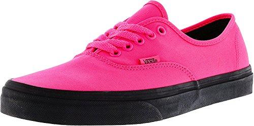 Vans Authentic Black Outsole Fashion Sneakers,Neon Pink/Black, 10 Men/11.5 Women