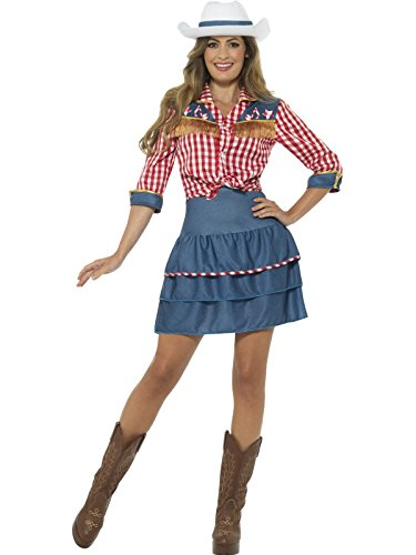 Cowgirl Costumes For Women (Smiffy's Women's Rodeo Doll Costume, Blue, Medium)