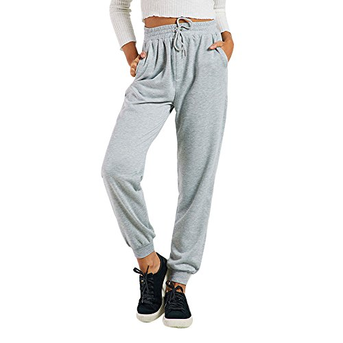 Creazrise Womens Sweatpants Casual String Tie Waist Yoga Jogger Cropped Pants Trousers Gray