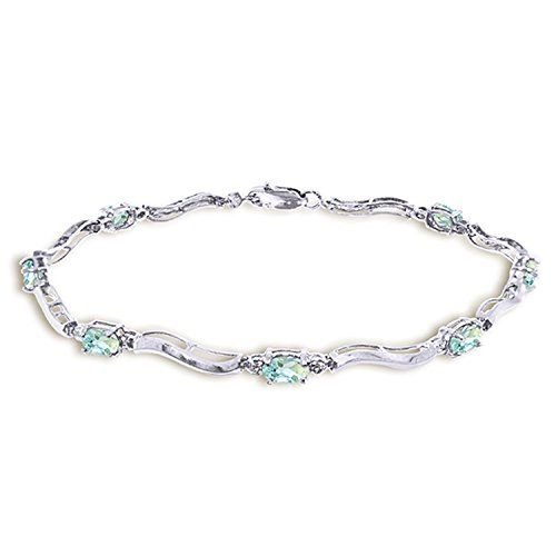Galaxy Gold 2.01 Carat 14K Solid White Gold Tennis Bracelet Diamond Aquamarine