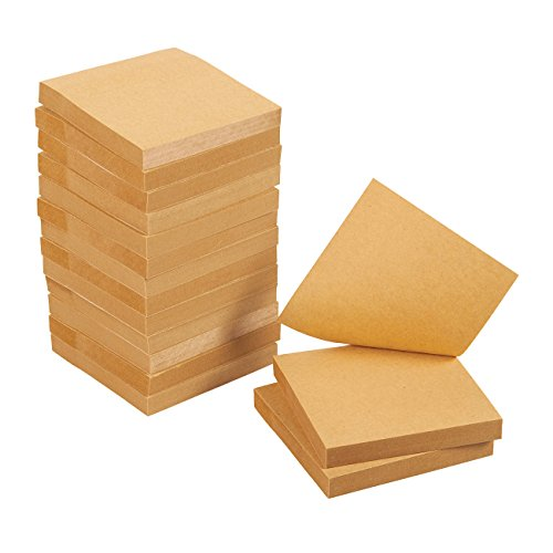 Sticky Notes - 15-Pads Self-Stick Note Pads, Memo, Post, Reminder for Students, Home, Desk, Office Supplies, Kraft Paper, 100 Sheets Per Pad, 3 x 3 Inches by Juvale