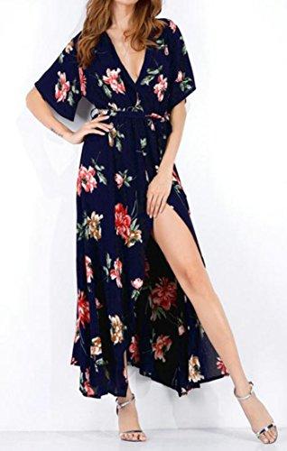 Cruiize Imprimé Floral Été Plage Sexy Fente Profonde V Robe Longue Des Femmes Bleu