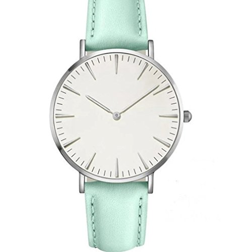 Silver Watch White Leather Belt - GUAngqi Women Men Casual Luxury Quartz Watches Analog Watch Leather Band Wrist Watches ,Silver shell white + black belt,As description
