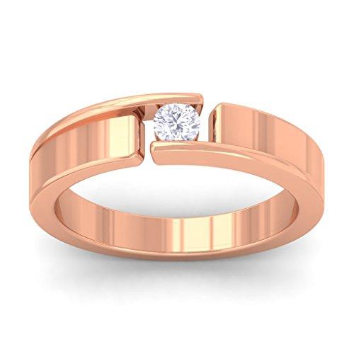 14K Rose Gold Single Round Diamond Classic Wedding Band (0.19 cttw I-J Color, SI clarity) Size (Mens Single Diamond Band)