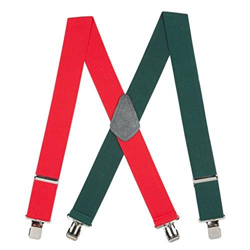 SuspenderStore Men's Red/Green Suspenders - 2 Inch Wide ()