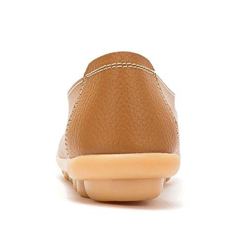 Joansam Dames Dames Casual Uitgesneden Lederen Loafers Platte Schoenen Mocassins Sandalen Licht Bruin