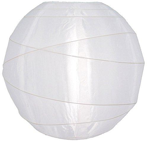 Quasimoon PaperLanternStore.com 36'' Irregular Ribbed White Nylon Lantern, Hanging Decoration