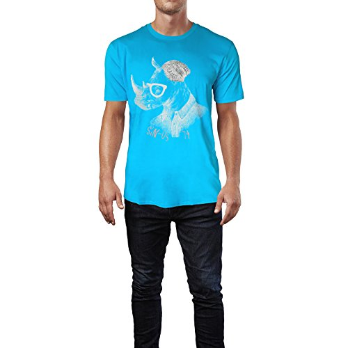 SINUS ART ® Hipster Nashorn mit Brille und Mütze Herren T-Shirts in Karibik blau Cooles Fun Shirt mit tollen Aufdruck