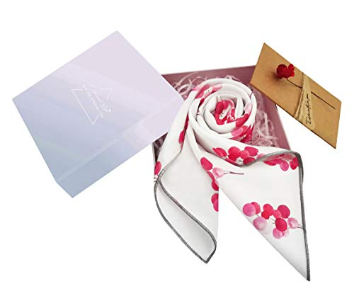 GERINLY Sweet Chic Square Scarf for Womens Cherry Printed Love Gifts for Her