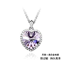 """Silver Swarovski Elements Women's Crystal Heart Star Pendant Necklace , 17.7"""", with a Gift Box, Violet"""