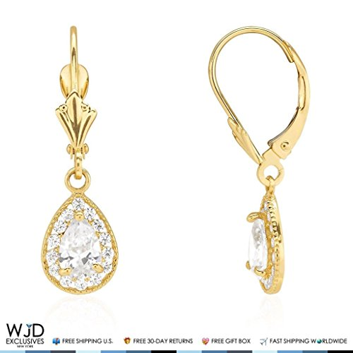 14K Yellow Gold Simulated Birthstone Milgrain Halo Teardrop Dangle Leverback Earrings, Cubic Zirconia