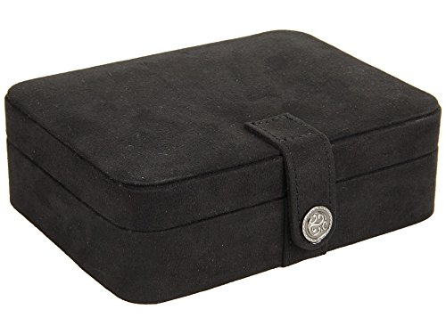 Giana Plush Fabric Jewelry Box/Travel Case with Ivory Suede Lining and Snap Closure (Black)