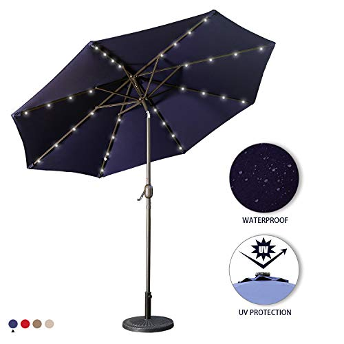 Aok Garden 9 Ft LED Lighted Patio Outdoor Umbrella Solar Power Market Table Fade-Resistant Umbrella with Push Button Tilt Crank and 8 Sturdy Ribs, Navy Blue