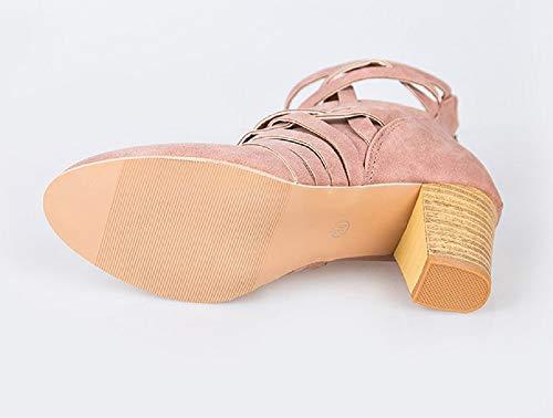 Rosa De 43 Rosado Botines 7 Cm 35 Tacon Alto Marrón Mujer Fiesta Botas Otoño Cuero Zapatos Comodos Botas fqTzf6wayx