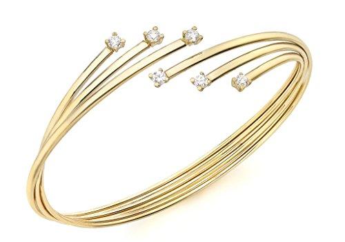 Bracelet Jonc or jaune 9carats Pierre Flexible Style Russe