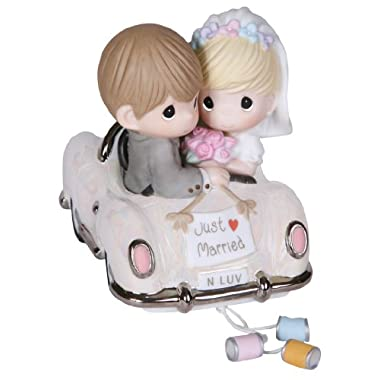 """Precious Moments, Wedding Gifts, """"Just Married"""", Bisque Porcelain Figurine, #103018"""