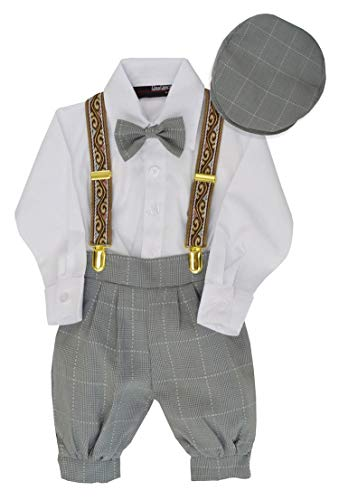 G284 Boys Vintage Knickers Outfit Suspenders Set (3T/3, Silver) -