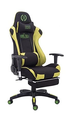 CLP Silla Gaming Turbo Tapizado de Tela I Silla Gamer Giratoria I Silla Racing Regulable en Altura I Silla Oficina con Reposapiés I Color: Negro/Verde: ...