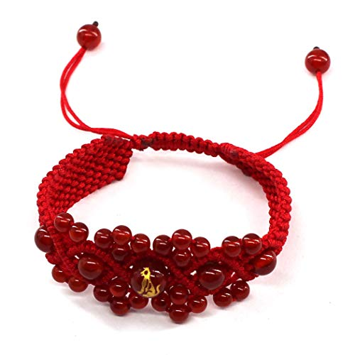 Original Chinese Ancient Style Red String Agate Bracelet ,Handmade Chinese zodiac charm bracelet Dog FP5001206