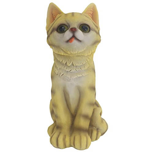 JPH Cute Cat Statue, Garden Sculptures & Statues, Funny Outdoor Sculpture Ornaments Décor, 10.7 inches Tall Hand-Painted Kitty Decorations Best Indoor Outdoor Patio Yard Lawn House Door(Yellow)