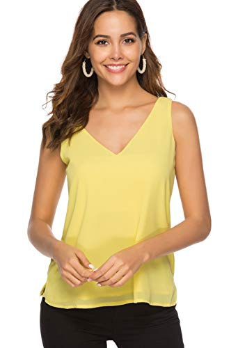 - Alice CO Women's Chiffon V Neck Sleeveless Blouses Loose Casual Flowy Tank Tops (X-Large, Yellow)