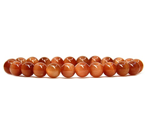 Orange Tiger Eye Gemstone 8mm Ball Beads Stretch Bracelet 7