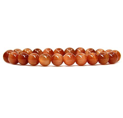 Orange Genuine Bracelets (Orange Tiger Eye Gemstone 8mm Ball Beads Stretch Bracelet 7