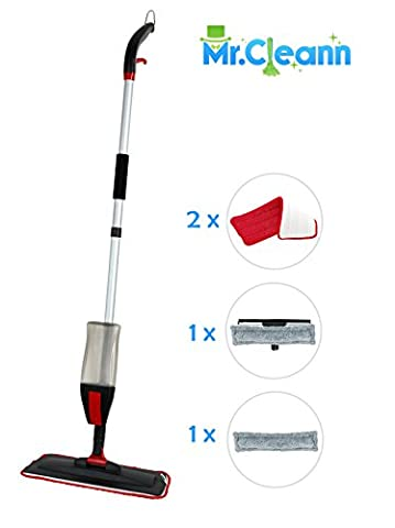 House Cleaning Spray Mop Kit - Mr.Cleann 2 in1 Set Includes Dry and Wet Cleaning Pad, 4 x Microfibre Cloth for Hardwood, Ceramic, Vinyl floors Plus Window Cleaner (Wood Floor Cleaning Tools)