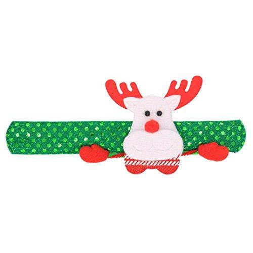 (Livoty Surprising Gift, Christmas Slap Bracelet Party Decor Radiate Pat Circle Hand Ring Santa Claus (Green))