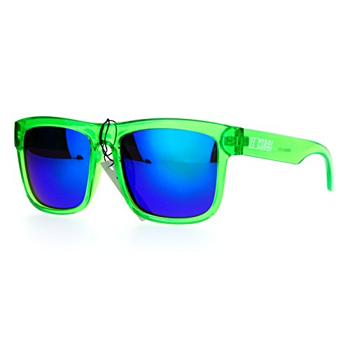 Kush Mens Neon Pop Horn Rim Sport horned Sunglasses Dark Green