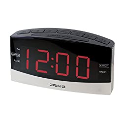 Craig Electronics Digital Clock Radio Alarm Clock, Black/Silver (CR41805)