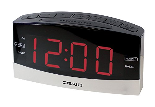 Craig Electronics Digital Clock Radio Alarm Clock, Black/Silver (CR41805)