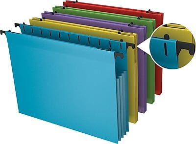 Staples Poly Expanding Hanging File Pockets, Letter, Assorted, 5/Pack (3 Packs of 5) by STAPLES