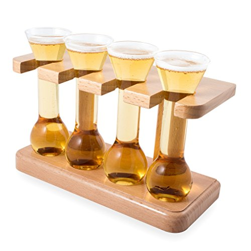 CKB Ltd Mini Yard Taster Shot Glasses - Ideal For Shots, Beer Tasting And Liqueurs, Craft Beer Shots - Gift For The Beer Connoisseur - Each Mini Yard Glass Holds (Yard Beer)