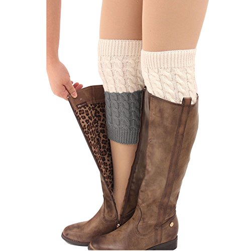 FAYBOX Women's Short Leg Warmer Crochet Boot Cover (Cream+Grey) -