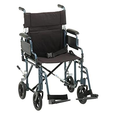 "NOVA 349 Lightweight Transport Chair with Detachable Desk Arms, 19"""