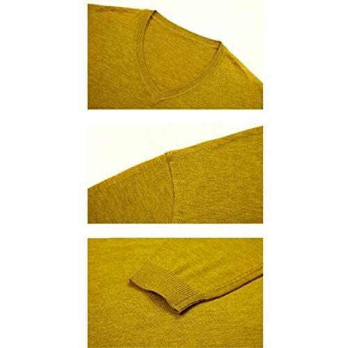 Unita Top Lunga Maglione Warm Chunky Giallo Manica Girocollo Tops Moda Essenziale Maglietta Elegante Uomo Tinta 8xZ744wq