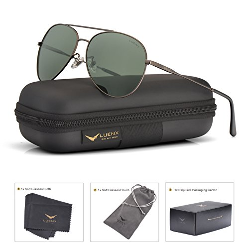 Gunmetal Frame Grey Polarized Lens (LUENX Mens Womens Aviator Sunglasses Polarized Non-Mirrored Grey Green Lens Gun Metal Frame UV400)
