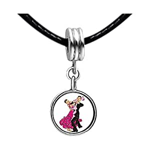 Chicforest Silver Plated Dance themes Latin Dancer Bead charm Photo White Crystal(April Birthstone) Flower dangle Charm Beads Bracelets European Bracelets Compatible