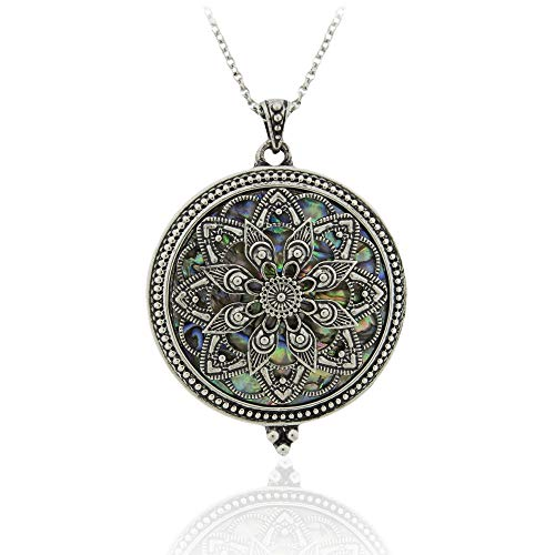 Ryssa Magnifying Glass Necklace Long Necklace with Reading Magnifying Glass Pendant for Difficulty Reading menus (Mandala Flower (Silver))