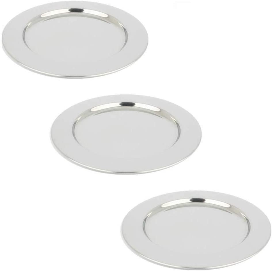 Yamde 3 Pcs 8.5 Inch Stainless Steel Round Plate Set for Camping Outdoor,Serving Tray,Dish Plate,Kitchen