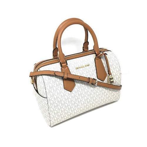 Michael Kors Hayes Large Duffle Satchel Bag Vanilla MK Signature (Michael Kors Vanilla Handbags)