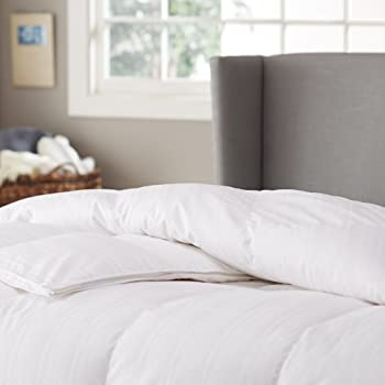 Pinzon Hypoallergenic White Goose Down Comforter, 100% Cotton Cover - Medium Warmth, Full/Queen