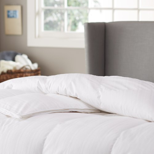 Pinzon Hypoallergenic White Goose Down Feather Comforter, 100% Cotton Cover - Medium Warmth, Full/Queen by Pinzon by Amazon