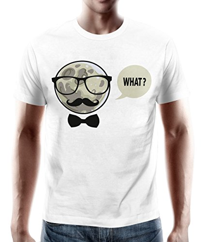adrotes – T-Shirt MOND HIPSTER WHAT weiß Gr. S - 5XL
