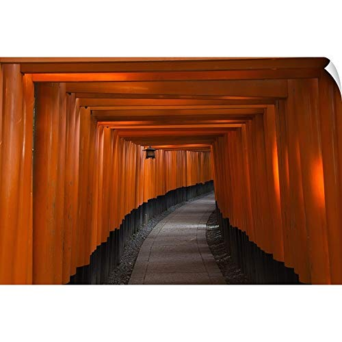 CANVAS ON DEMAND Philippe Widling Wall Peel Wall Art Print Entitled Many Tori Gates at Fushimi Inari, Kyoto, Japan 18