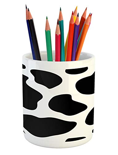 Ambesonne Cow Print Pencil Pen Holder, Hide of a Cow with Black Spots Abstract and Plain Style Barnyard Life Print, Ceramic Pencil Pen Holder for Desk Office Accessory, 3.6 X 3.2, Black White