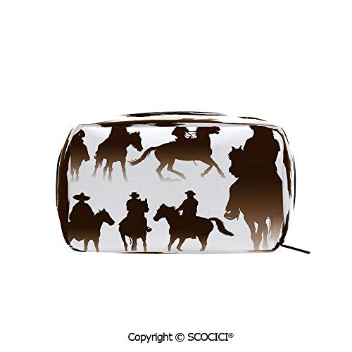 (Rectangle Printed Beauty Cosmetic Bag Pouch Collection of Horseback Riding Silhouettes Bridle Ranch Stallion Equestrian Theme Decorative Women fashion Toiletry Travel Bag)