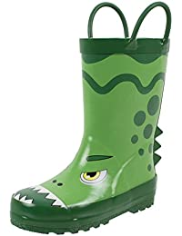Fun Printed Waterproof Rain Boots for Toddler & Little Kids, Unisex, 100% Rubber, Sizes 7 to 3, Ages 2 to 9