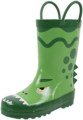 Rainbow Daze Kids Rubber Rain Boots, Dino The Dinosaur, Waterproof, Green, Little Kid Size ()